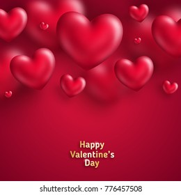Pink Valentine's Day background with 3d hearts on red. Vector illustration. Cute love valentine banner or greeting card. Place for your text