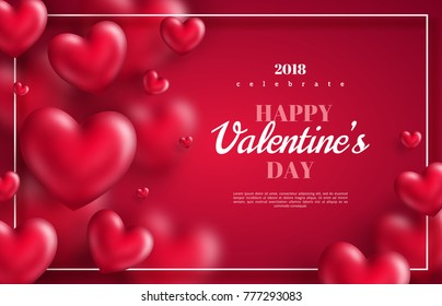 Pink Valentine's Day background with 3d hearts on red. Vector illustration. Cute love banner or greeting card. Place for text