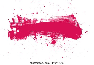 Pink vector abstract brush strokes composition with paint splatter