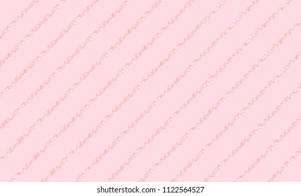 Pink vector background with glitter line. Cute rose backdrop for decoration girly party. Wrapper paper design for little princess. Beautiful light abstract pattern with shimmer for wedding invitation