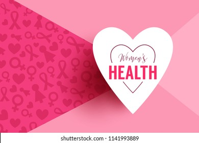 Pink vector background with paper heart frame and lettering womens health. Breast Cancer October Awareness Month Campaign