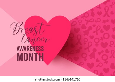 Pink vector background with paper heart frame. Breast Cancer October Awareness Month Campaign
