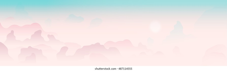 Pink vector clouds in a morning sky. Horizontal banner