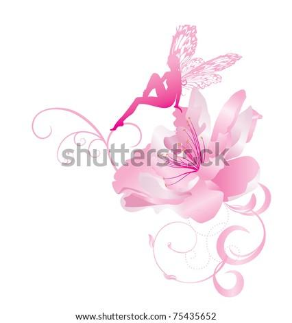 Pink vector corner flower fairy butterfly stock vector royalty free pink vector corner flower with fairy with butterfly wings sitting mightylinksfo