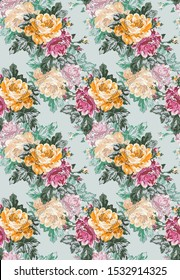 pink vector flowers pattern on green background