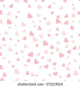 pink vector hearts on white background. seamless pattern.