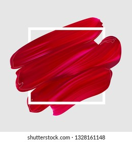Pink vector lipstick smear. Female girly logo. Paint brush red stroke in frame, banner template. Makeup or nail salon design element