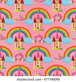 Pink vector seamless pattern background wallpaper illustration with fairytale princess castle,magic carriage,crystal shoe, colorful rainbow, blue clouds for little girls who dream of being princesses