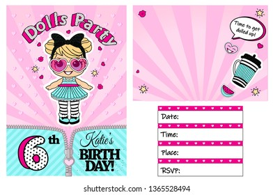 Pink vector template of invitation card for little girl. Girlish cute illustration for kids birthday party in LOL doll surprise style. Printable colorful invite. Place your text, picture, photo frame
