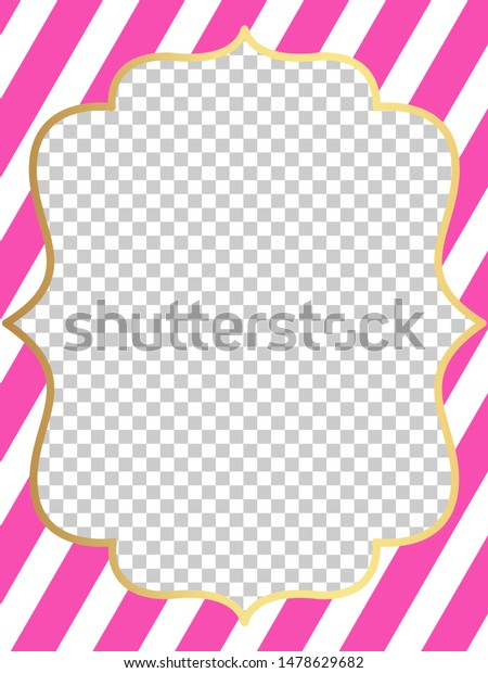 Pink Vector Template Invitation Card Little Stock Vector