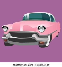 Pink vintage car on a violet background