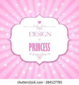 Pink vintage card with beautiful frame & burst. Vector illustration