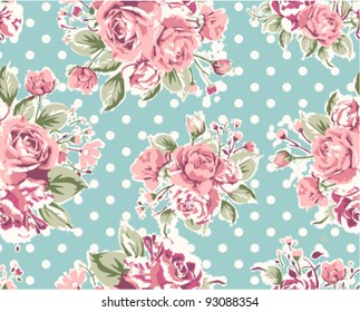 pink vintage rose pattern on green background