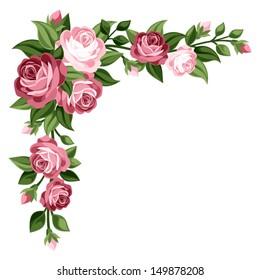 Pink vintage roses, rosebuds and leaves. Vector illustration.