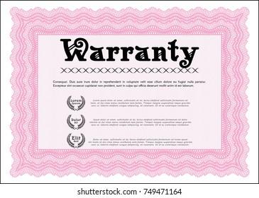 Pink Vintage Warranty Certificate template. Lovely design. Printer friendly. Vector illustration.