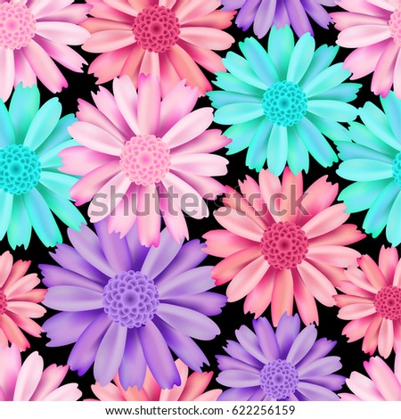 Pink Violet Blue Flower Seamless Pattern Stock Vektorgrafik