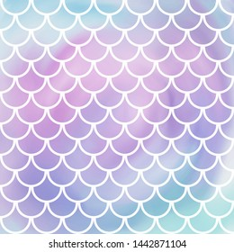 Pink, violet and blue mermaid scales. Watercolor imitation fish pattern. Underwater sea texture. Vector illustration. Perfect for print design for textile, poster, greeting card, invitation.