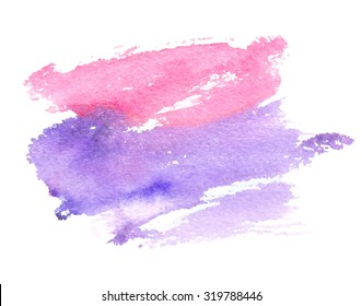 Pink violet brush painting isolated strokes stain on white background. Watercolor hand drawn paper texture art abstract vector illustration. Design striped element for decoration, cover, banner, print