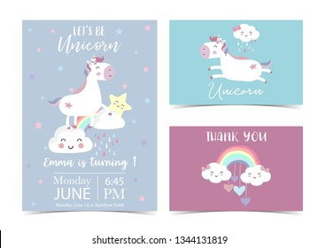 Pink violet hand drawn postcard with rainbow,star,cloud,heart,unicorn and rain