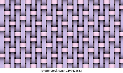 Pink violet realistic rattan woven background. Bamboo texture pattern. Vector illustration. Template for web sites, sticker labels, wallpapers, banners, leaflets, cover design, fabric