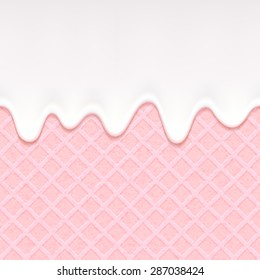 Pink wafer and flowing white chocolate, cream or yogurt - vector background. Sweet texture. Soft icing.