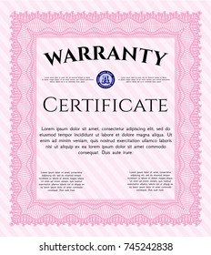 Pink Warranty template. Beauty design. Easy to print. Customizable, Easy to edit and change colors.