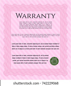 Pink Warranty template. Easy to print. Cordial design. Customizable, Easy to edit and change colors.