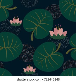 Pink water lilies with leaves trendy seamless pattern on dark blue background. Cute Japanese art background. Design for fabric, wallpaper, textile and decor.