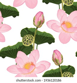 Pink Water lily seamless pattern, japanese pattern. Classical embroidery, pink lotuses and water lilies leaves.