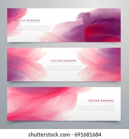pink watercolor banners set template