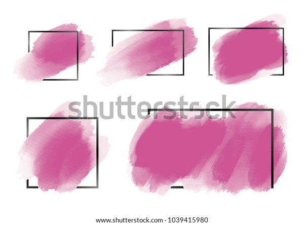 Pink watercolor brush with black line frame on white background vector illustration