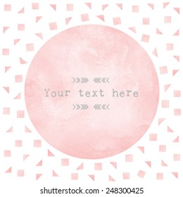pink watercolor circle paper background. Vector template design element