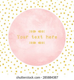 pink watercolor circle paper background with gold foil star and polka dot pattern. Vector template design element