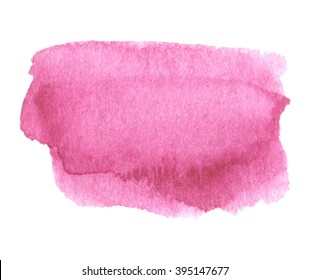 Pink watercolor colorful shine hand drawn paper grain texture isolated vector stain on white background for decoration, design, scrapbook, print. Abstract water artistic brush paint splash element