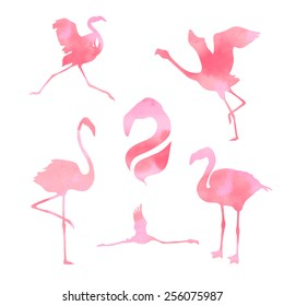 Pink watercolor flamingo, set of vector silhouettes