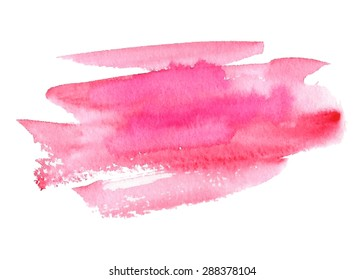 Pink watercolor hand drawn isolated paper texture strokes on white background. Wet brush painted smudges abstract vector striped illustration. Design water element for banner, print, template, web