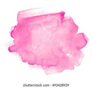 Pink watercolor hand drawn paper texture isolated vector shape stain on white background for text design, web, print. Aquarelle color brush paint element for border