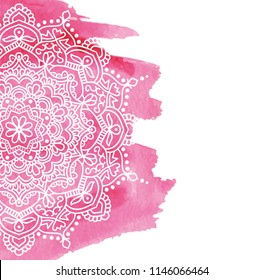 Pink watercolor paint background with white hand drawn round doodles and mandalas. design of backdrop