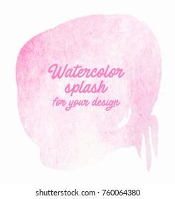 Pink watercolor splash vector