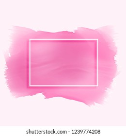 pink watercolor stain texture with empty frame