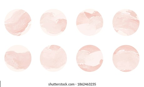 Pink watercolor story highlight cover icons. Set of abstract pastel pink watercolor circles design. Highlight cover for social media stories