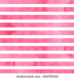 Pink watercolor stripes. Watercolor striped background.