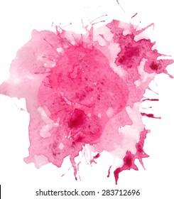 Pink watercolor vector background.