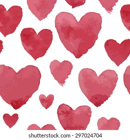 Pink watercolour hearts on white, seamless pattern