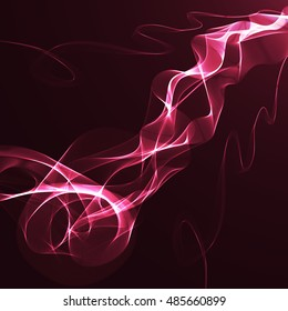 Pink wavy ribbon on a maroon background