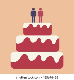 Pink wedding cake with gay couple on top. Flat vector design.