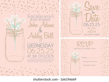 Pink Wedding Invitation Card Design Collection with Mason Jar in Vector