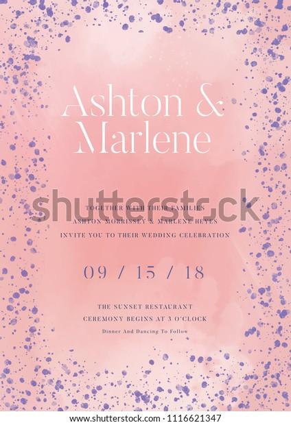 Pink Wedding Invitation Card Design Vector Stock Image