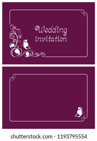 Pink wedding invitation, rsvp invite, thank you and save the date cards with floral design and butterfly. Horizontal card template for foil print