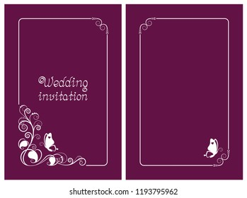 Pink wedding invitation, rsvp invite, thank you and save the date cards with floral design and butterfly. Vertical card template for foil print